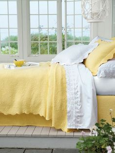 Milano Matelasse Coverlet - The classic Italian design of this stylish coverlet is a sophisticated statement for your bedroom. The ornate scroll motif in a double woven mat Yellow Quilts, Yellow Bedspread, Yellow Bedding, Pretty Bedroom, White Bedroom, Yellow Bedrooms, Yellow Cottage, Yellow Springs, Yellow Houses