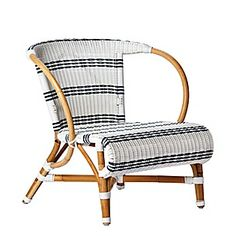 Monaco white and navy striped rattan lounge chair reminds me of my French aunt's place on the Cote D'Azure // $395 Serena & Lily