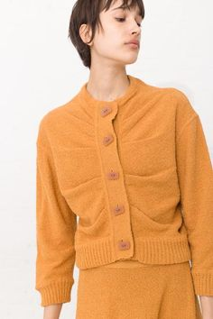 Veronique Leroy Sweater Button Up in Safran | Oroboro Store | New York, NY