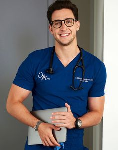 I grew up embracing my inner nerd 🤓 and so far I can't complain. Don't ever be afraid to be your authentic self. Proudly share your passions for what you love! Hot Doctor, Male Doctor, Eleventh Doctor, Dr Mike Varshavski, Black Leather Biker Jacket, Medical Scrubs, Men In Uniform, Gorgeous Men, Sexy Men