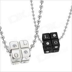 9.79€ Collares de Piedras GX309 Dados AMOR acero inoxidable 316L Pareja - Negro + Plata (2 PCS)