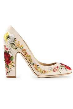 Shopping: Bridal Shoes: Dolce & Gabbana  Eclectic embroidery, floral motifs and a block heel to ensure you won't sink into the grass¾this fabulous style ticks all the right boxes for the boho bride.  Dolce & Gabbana cotton and leather heels, approx. $2,525; at farfetch.com. Click for more...