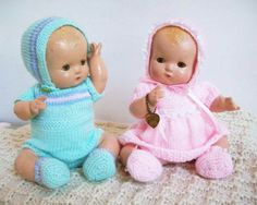"""Another pair of twin Effanbee Patsy Babies. I dressed one as a boy and the other as a girl. They are 11"""" tall and have the bent baby legs which means they were made in1932."""