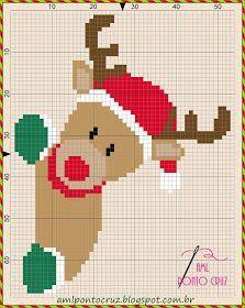 AML PONTO CRUZ: Gráfico Rena Xmas Cross Stitch, Cross Stitch Pillow, Beaded Cross Stitch, Modern Cross Stitch, Cross Stitch Charts, Cross Stitching, Cross Stitch Embroidery, Hand Embroidery, Cross Stitch Patterns