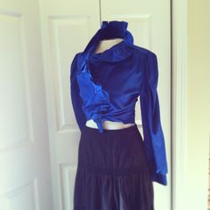Royal Blue Ruffles. Size 10 (S/M) Vintage early 80s. Think Princess Di.