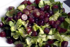 Ensalada de uvas, pepino y espinaca