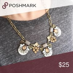 """amber gem necklace. Adorable gem boutique necklace.  Classic look with gorgeous Amber and Grey gems.  Stunning, worn twice, subtle tarnish to the chain back and metal accents but the nature of the piece, oh so pretty!  Pictured on longest length in try on photo.  21"""" long laid flat. Jewelry Necklaces"""