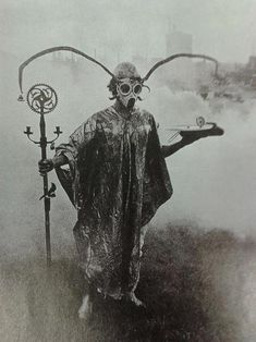 Urban Druid performing spirit sorcery in park, around year 1900.