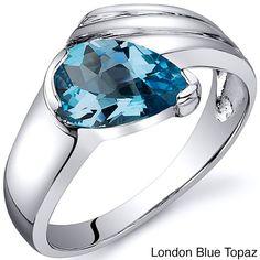 Oravo Sterling Silver Pear-cut Gemstone Rhodium Finished Ring (London Blue Topaz Size 5), Women's