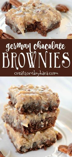 Fudgy German Chocolate Brownies - we like these brownies even better than German Chocolate Cake! via creationsbykara.com #BrownieCake German Chocolate Cake Cookies, Chocolate Desserts, Chocolate Cheesecake, Homemade German Chocolate Cake, German Cookies, Coconut Chocolate, Chocolate Box, Chocolate Truffles, Chocolate Covered