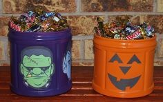 coffee container halloween candy canister, crafts, halloween decorations, repurposing upcycling, seasonal holiday d cor, Resize your printables to 3x5 and they will fit perfectly