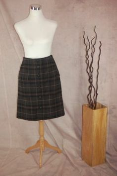 Magaschoni Collection PLaid skirt 4 Wool Blend Dark Gray