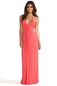 Maxi Halter Dress from T-Bags LosAngeles. This coral maxi dress is vibrant and flattering for a night out or wedding.