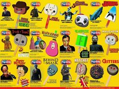 horror popsicles; I love that they have Captain Spaulding and Freddy Krueger is a Dreamsicle HA!