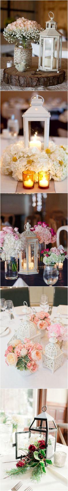 rustic latern wedding centerpieces / http://www.deerpearlflowers.com/wedding-centerpiece-ideas/
