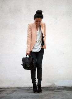 Shop this look for $236:  http://lookastic.com/women/looks/v-neck-t-shirt-and-satchel-bag-and-skinny-jeans-and-ankle-boots-and-blazer/965  — White V-neck T-shirt  — Black Leather Satchel Bag  — Black Skinny Jeans  — Black Suede Ankle Boots  — Pink Silk Blazer