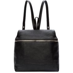 Kara Black Pebbled Leather Backpack (15,090 THB) ❤ liked on Polyvore featuring bags, backpacks, rucksack bag, knapsack bags, structured bag, black zip bag and kara bags