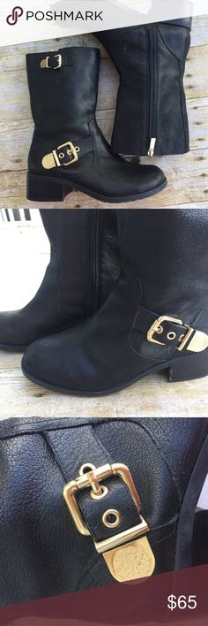 Vince Camuto Moto Boots Size 8.5 Black leather Vince Camuto leather moto boots. Size 8.5. Worn twice. Perfect for fall and winter season. Beautiful condition. Vince Camuto Shoes Combat & Moto Boots