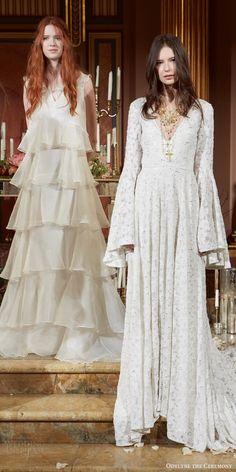 odylyne the ceremony fall 2017 bridal flare long sleeve v neckline a line fully embellished wedding dress (looks 3 4) mv
