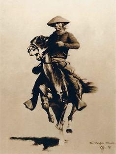 "The rider (Tribute to Frederic Remington)  ""oil on canvas"" 50 x 65 cm.  www.ortegaavila.com"