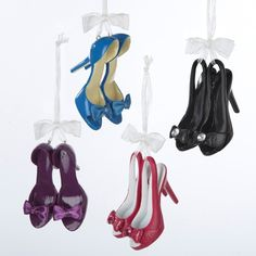 2.5  HIGH HEEL SHOE ORNAMENT - 4 ASSORTED COLORS: BLUE, PURPLE, RED AND BLACK