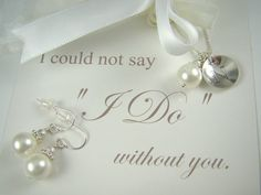 Unique Bridesmaids Jewelry Gift Sets, Pearl Earrings Necklace Set, Sterling Silver. $36.00, via Etsy.