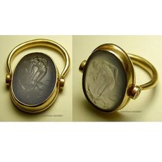 Gold swivel ring and hand-carved blue chalcedony by Chavdar Chushev (hand-carved copy after an archaic intaglio). #intaglio #gem #intagliogem #bluechalcedony #gemcarving #seal #sigillo #cameo #ring #lapidary  #jewelry #jewellery #showmeyourrings #glyptic #yellowgold #lovegold #antiquering #ancientring #ancientjewelry #handmade #handcrafted #глиптика #gold #goldring #goldsmith #sealring #ringsofinstagram #youth #dogjewelry #ancientgreekart