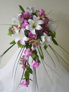 Wedding, Flowers, Pink, White, Bouquet, Bridal, Roses, Lilies