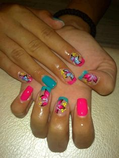Florescent Nails with Flowers