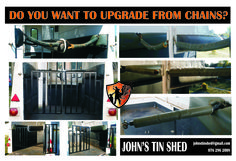 Conversion from chains to solid bar & gates Tin Shed, Gates, Chains, Bar, Steel, Chain, Steel Grades, Gate, Iron