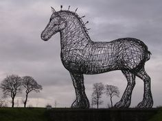 Andy Scott. The Heavy Horse. This sculpture of a Clydesdale Horse has become one of the best known artworks in Scotland.  Sited beside the M8 motorway between Glasgow and Edinburgh, it stands 4.5 metres tall at the head and is made of galvanised steel round bars. Photo credit: Hanneke Scott van Wel   Website