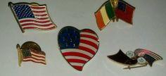 Flag Lapel Hat Pins Pinbacks Tie Tacks Set of 5 by EtsyValues, $6.00