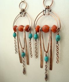 Boho/Deco statement earrings handmade in copper with coral and turquoise. www.etsy.com/shop/weaversfield