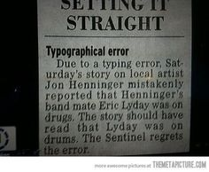 Funny pictures about Newspaper correction. Oh, and cool pics about Newspaper correction. Also, Newspaper correction photos. Elementary Counseling, Career Counseling, Elementary Schools, Grammar And Punctuation, Newspaper Headlines, Wtf Fun Facts, Conflict Resolution, Funny Images, Dumb And Dumber