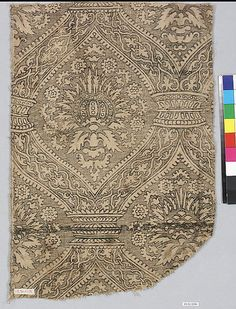15-16th c. Spanish cotton and linen printed fragment (19 x 12 3/4 in.) - Met Museum 09.50.1096