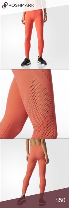 NWT Adidas Warpknit Tight Leggings Orange This is a pair of new with tags leggings from Adidas. They are called warp knit tights that have a seamless construction for ultimate comfort. They have a soft high rise waist and zoned mesh panels to cool you down adidas Pants Leggings
