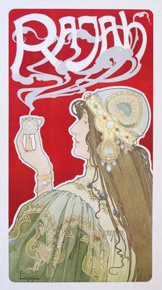 1899 Original Belgian Art Nouveau Poster, Rajah Coffee - Livemont