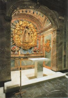 The Shrine of of the Black Madonna in in the Church of the Eisiedeln Abbey in Eisiedeln, Switzerland.