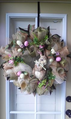 EASTER WREATH/ Natural Burlap/ Deco Mesh/ Easter Bunny/ Easter Eggs