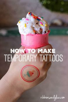 How to make Temporary Tattoos with tattoo paper, Silhouette Cameo and Print N Cut Shapes. Easy and fun kid craft idea, perfect for parties. Homemade Temporary Tattoo, Temporary Tattoo Paper, Homemade Tattoos, Silhouette Cameo, Silhouette Tattoos, Silhouette Projects, Silhouette Files, Craft Projects For Kids, Easy Crafts For Kids