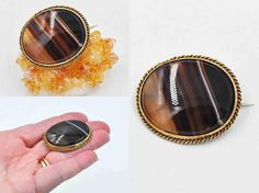 Antique Victorian Gold Filled Banded Agate Brooch Oval