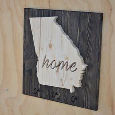 Georgia State Key Hook Wood Plaque Cutout by SkipToothCreations