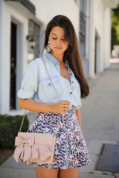 Patterned Cecilia Skirt and denim shirt