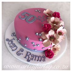50th Flower Cake #50thbirthdaycake #flowercake Bird Cakes, Cupcake Cakes, Cupcakes, Number Cakes, Butterflies, 50th, Birthday Cake, Birds, Lady
