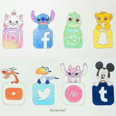 Cute Disney Drawings, Cute Animal Drawings, Kawaii Drawings, Cute Drawings, Drawing Disney, Disney Character Drawings, Drawing Faces, Kawaii Disney, Kawaii Anime