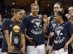 "2015 Women""s Final Four Champions - From left, Kaleena Mosqueda-Lewis, Kiah Stokes, Breanna Stewart and Moriah Jefferson celebrate."