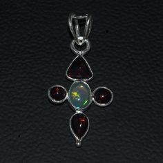 925 STERLING SILVER NATURAL ETHIOPIAN FIRE OPAL CAB PENDANT JEWELRY 115