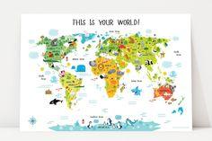 Children's World Map Poster | Nursery Decor | Playroom Wall Decor