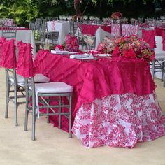 Purple and silver table cloths