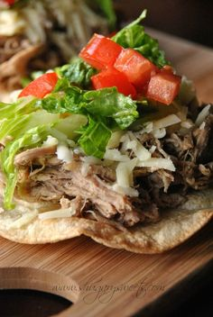 Slow Cooker Jamaican Jerk Pulled Pork Tostadas